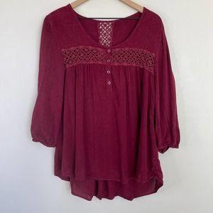 ONE WORLD Red Boho Top Crochet Inlays Women's Sz XL